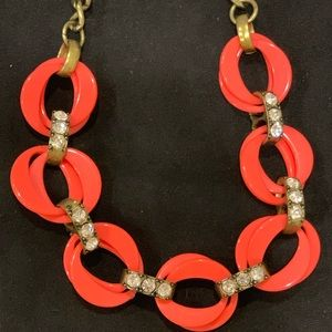 JCrew pink and crystal link necklace